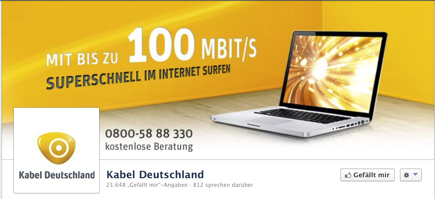 Kabel Deutschland Screenshot der Facebook Seite