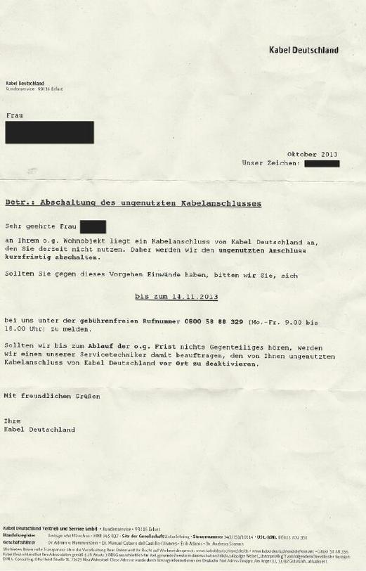 Kabel-Deutschland-Schreiben